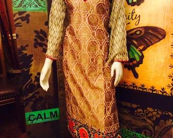 Sale,Indian Pakistani dress Kurti fully golden thread embroidery sale