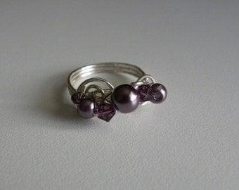 Purple glass pearls and Amethyst Swarovski crystals.