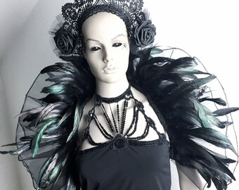 feather tulle shrug Rhaissa black iridicent organza
