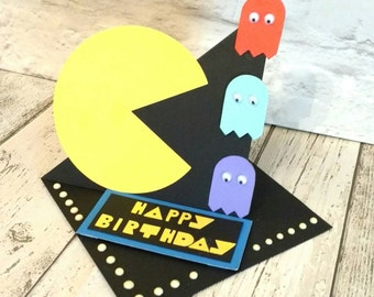 PAC man card - gamer gift - retro games - unusual birthday card - 3d card - gaming fan gift - computer game lover - 80s games - 80s birthday