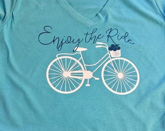 Enjoy the Ride (Design 2) // TShirt Tank Raglan VNeck // Customizable! Cycling Bicycle Outdoors Hobby
