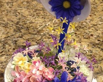 Floating Teacup, Floral Decor, Teacup Centerpiece, Tea Lover, Floral Arrangement, Tea Party Decor, Teacup Garden, Teacup Decor