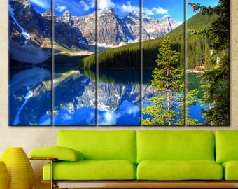 Mountain canvas, Nature wall art, Lake canvas, Mountain wall art, Split canvas, Extra large canvas, Mountain print, Home decor, Nature print