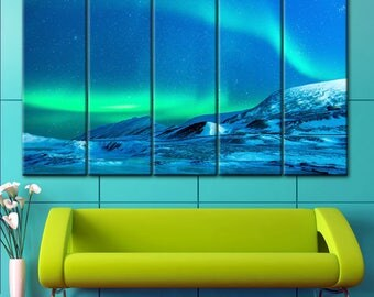 Northern sky lights, Lights picture, Northern Lights, printing on canvas, Art Northern Lights, Blue Mountains Print, Lights wall decor