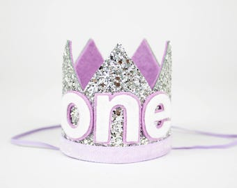 First Birthday Crown | First Birthday Outfit Girl | First Birthday Hat | Birthday Glitter Crown | 1st Birthday Hat | Silver + Purple ONE