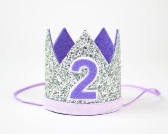 Second Birthday Crown | 2nd Birthday Glitter Party Hat | Silver + Purple 2
