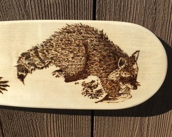 RACCOON - CANOE PADDLE - Woodburning Art - Pyrography Art - wildlife