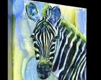 Wall Hanging, Home Decor, Zoo Animal, Zebra, Canvas Print, Watercolor Print, Childrens Wall Hanging, Picture