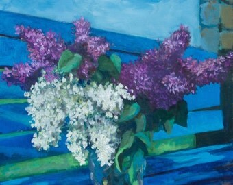 Contemporary Art Flowers Lilac Still life Paintings  Flowers 40x50cm oil painting  Realism flowers painting