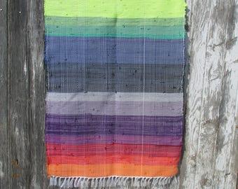"Promise of Mercy 43""x27"" Rainbow Handwoven Rag Rug, rainbow rug, woven rag rug, scrap rug, kitchen rug, spanish rug, indian rug, rainbow mat"