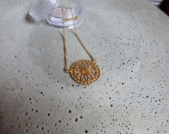 Sterling silver plated with mandala pendant pea chain 42 cm
