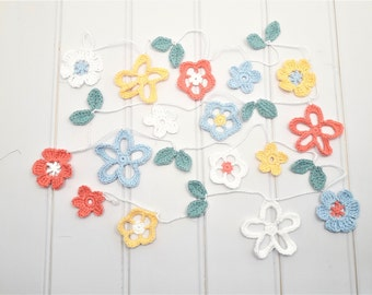 Flower garland, crochet flower bunting
