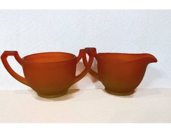 Vintage Ruby Red Frosted Glass Sugar and Creamer Set