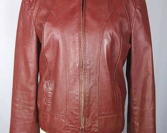 70s Vintage Leather Jacket, Casablanca, Art Nouveau lines, Zipper front, Rust color