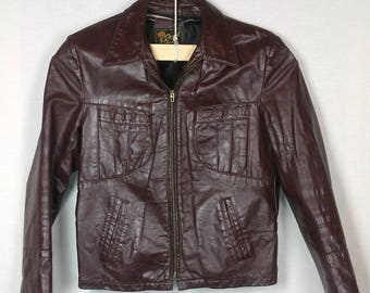 70s Vintage Reed Leather Jacket, Brown, Pockets, Zipper front