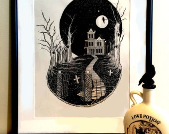 Haunted House illustration Fine Art Poster Print A3 paper