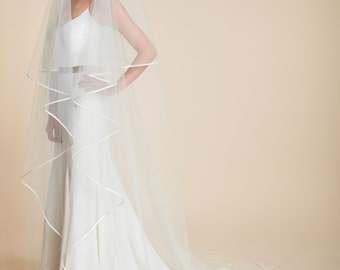 The Evelyn Two Tier Wedding Veil, Satin Bias Wedding Veil, Classic Veil With Blusher, Plain Veil, Ribbon Edge