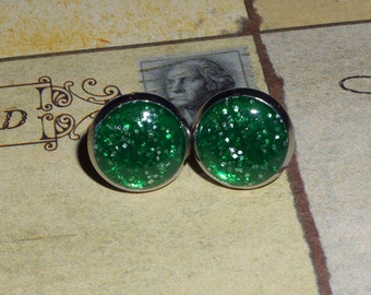 Antique Bronze or Silver Glittery Green Stud Post Earrings