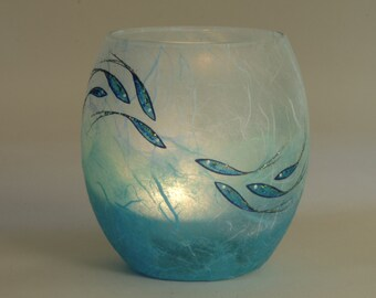 Fish candle holder - tealight holder - pretty shimmering fish hand decorated on aqua/turquoise strawsilk glass - made by Karen Keir in Devon