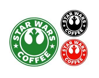 STARWARS- STARBUCKS Spoof REBEL Alliance Coffee Quality Vinyl Decal, Coffee, Yeti, Car, Laptop, Gift, Star Wars