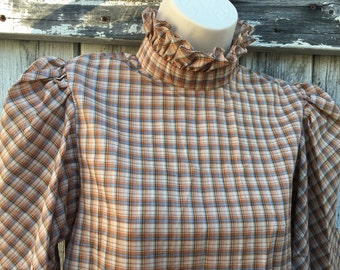 Women's Vintage Brown Plaid Blouse Size S