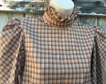 Women's Vintage Brown Plaid Blouse Size M