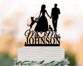 Customized Wedding Cake topper with cat, bride and groom silhouette unique wedding cake topper with dog, funny wedding cake topper figurine