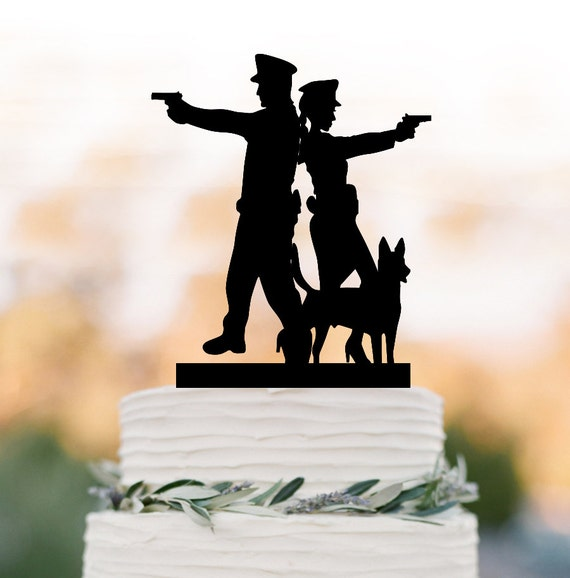 Police Man And Police Women Wedding Cake Toppers With Dog