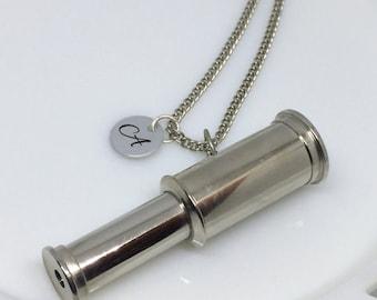 Telescope Necklace, Silver Telescope Necklace, Silver Telescope, Engraved Necklace, Engraved Jewelry, Telescope Charm, Christmas Gift