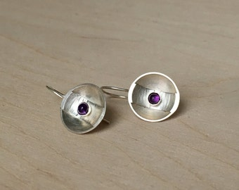 Sterling silver discs with amethyst