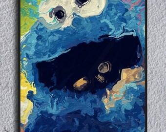 Cookie Monster Framed Painting Print