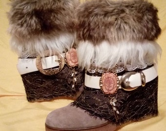 Upcycled boots, Boho boots, Festival boots, Gypsy style, Hippie, everyday boots, Reworked boots