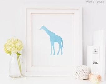 50% OFF, Giraffe Print, Blue Giraffe Print, Nursery Decor, Nursery Art, Downloadable Prints, Nursery Prints, Baby Boy Print