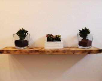 Recycled wood wall shelf