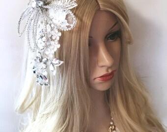 Crystal Bridal Hair Comb, Swarovski Bridal Headpiece, Flower Hair Comb, Wedding Headpiece, Bridal Hair Jewelry, Crystal Headpiece, Lace Comb