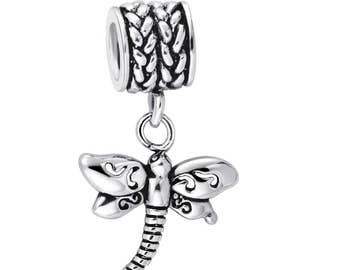 DRAGONFLY Charm, 925 Sterling Silver, Fits Pandora, Famous European Snake Chain Bracelet, Large Hole, Fashion, Female, DIY Jewelry