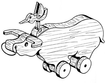 Water Buffalo Pull or Play Toy  #105 -   Woodworking / Craft Pattern.