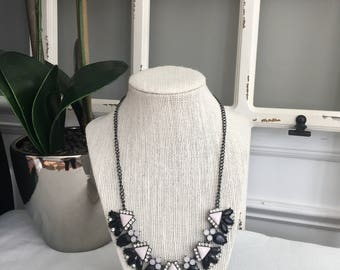 Pink and Black Triangle Necklace