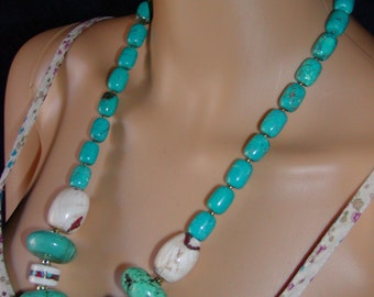 Turquoise Conch Howlite Brass necklace