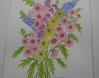 Hollyhocks, Foxgloves and Delphiniums.