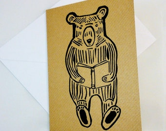 Bear and Book Linocut Card - Animal Linoprint Greeting Card - Birthday Card, Thank You Card, Literary Card for Book lovers