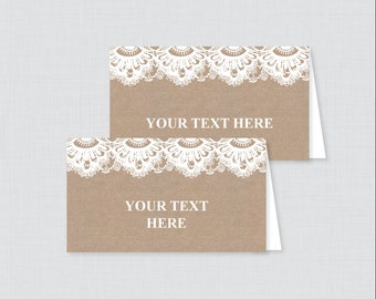EDITABLE Tent Cards - Printable Burlap and Lace Wedding Tent Cards, Rustic Wedding Buffet Labels, Editable Tent Cards for Wedding 0002