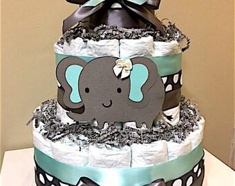 Baby shower decorations elephant etsy elephant tiffany blue and gray 3 tier diaper cake elephant centerpiece elephant baby negle Gallery