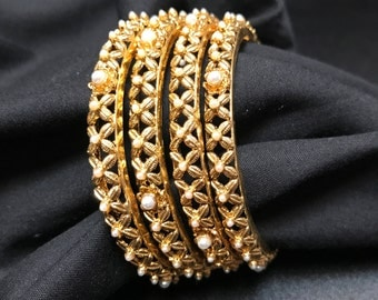 Indian Jewelry - Indian Bangles - Indian Bracelets - Indian Kangan - Kundan Jewelry - Kundan Bangles - Bollywood Jewelry - Indian Bridal -
