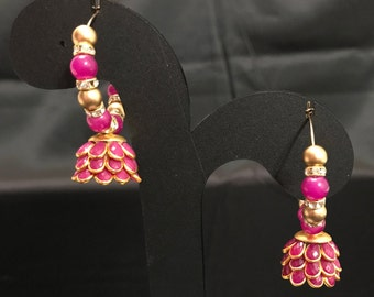 Deep Pink Purple Jhumki Earrings - Indian Jewelry - Kundan Jewelry - Temple Jewelry - Polki Jewelry - Indian Earrings - Bollywood Earrings -
