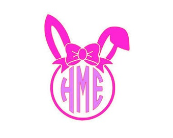 Easter Bunny Monogram Iron On, Personalized, Bow