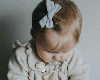 Light Grey Hand Tied Hair Bow - Attached to your choice of a nylon headband (one size fits all) or clip