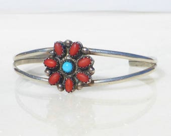 Zuni Sterling Silver, Turquoise and Coral Flower Petit Point Bracelet, Signed Sheyka, extra small