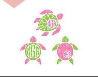 Sea Turtle SVG, Sea Turtle Monogram SVG, Sea Turtle Silhouettes