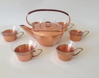 Copper tea service from 1 teapot & 6 tea cups, mid century modern tea service, copper glass brass basket